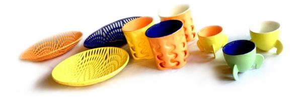 Komponenter skapade i en 3D-skrivare med CJP-teknik.