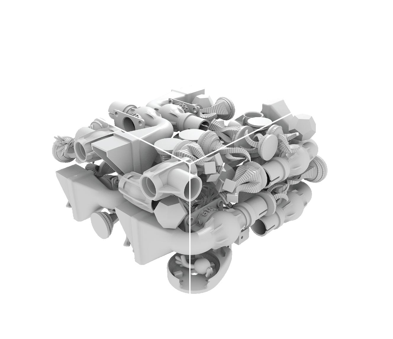 Modeller som förberetts för utskrift i en SLS Gravity-skrivare
