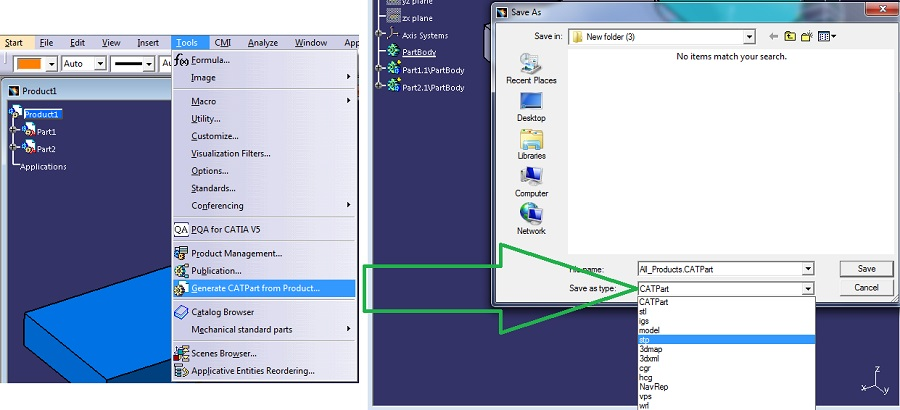 Exporting stl files for 3D-printing from Catia