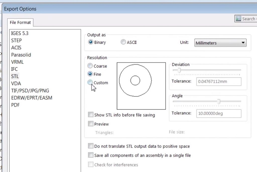 Exportera STL-filer till 3D-skrivare från Solidworks