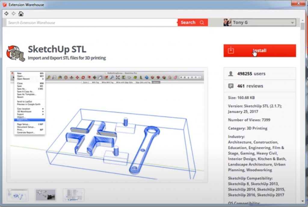 Exporting stl files for 3D-printing from SketchUp