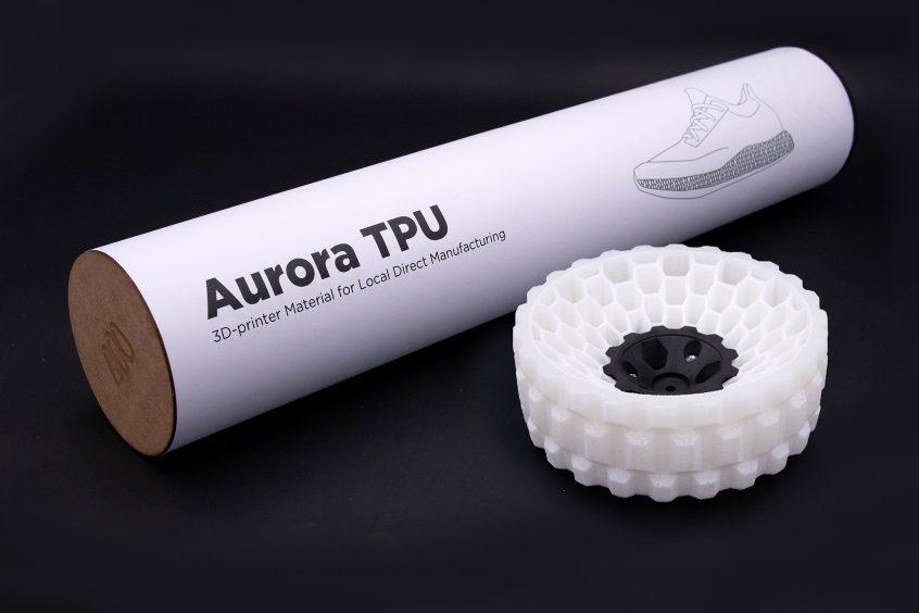 Aurora TPU powder package with printed part